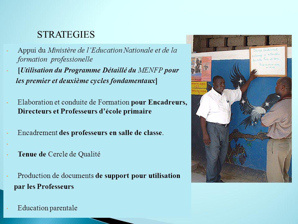 STRATEGIES Appui du Ministère de l'Education Nationale et de la formation professionelle. [Utilisation du Programme Détaillé du MENFP pour.